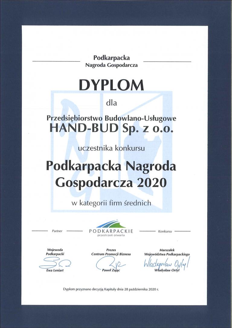 2.2. WYRÓŻNIENIA - Dyplom - Podkarpacka Nagroda Gospodarcza 2020-1